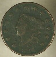 1824 US Coronet Head Large Cent Circulated       ** FREE U.S. SHIPPING **