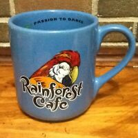 HTF 24 oz Rainforest Cafe Parrot RIO Bird Blue Collectible Large Coffee Mug Cup