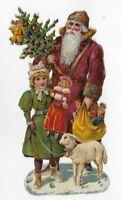 """R. Tuck Victorian SANTA, GIRL GREEN COAT, LAMB, DOLL, TOYS, Antique Scrap, 6"""""""