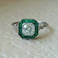 2.5ct Round Cut Diamond Emerald Art Deco Engagement Ring 14k White Gold Finish