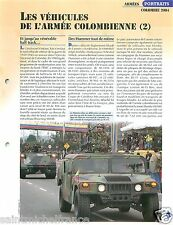 Parade Hummer /M113 /Half Track/M425 Abir Colombia Colombie 2004 FICHE CHAR TANK