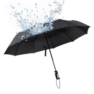 Automatic Umbrella Auto Open Close Compact Folding Anti UV Rain Windproof 10Ribs
