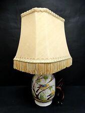ANTICA LAMPADA BASE CERAMICA DIPINTA UCCELLI con cappello 23d65f312f2b