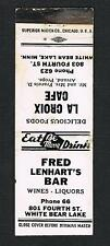 VERY RARE  boxer 1926-38 FRED LENHART  boxing matchcover White Bear MINN
