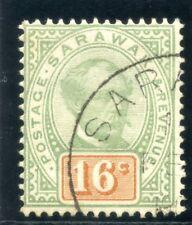 Sarawak 1897 QV 16c green & orange very fine used. SG 17. Sc 17.