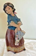 Lladro #13507 Girl Carrying Flowers Gres Finish Retired Rare Made In Spain