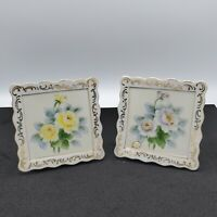 SET OF 2 VINTAGE CERAMIC FLORAL ROSES WALL POCKET PLANTER HAND PAINTED