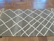 CASBAH MOROCCAN GREY ZIGZAG HAND KNOTTED WOOL MODERN FLOOR RUG 160x230cm