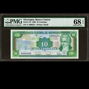 Banco Central de Nicaragua 10 Cordobas 1990 PMG 68 SUPERB UNC EPQ P-175 TOP POP