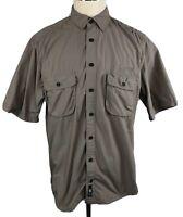 Eddie Bauer EBTEK Mens Large Nylon Short Sleeve Button Front Performance Shirt