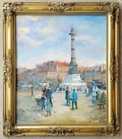 Vintage Original Oil Painting Parisian Paris Street Scene Fountain Impressionist