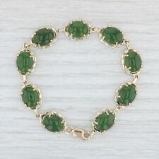 "Green Nephrite Jade Tennis Bracelet - 10k Yellow Gold 7"" 11mm Vintage"
