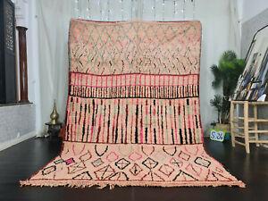 """Boujad Handmade Moroccan Rug 6'7x9'8"""" Geometric Beige Pink Black Berber Wool Rug"""