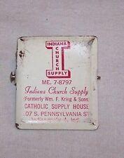 1950'S INDIANA CHURCH SUPPLY BILL CLIP-CATHOLIC-INDIANAPOLIS-WM F KRIEG & SONS