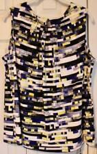 Calvin Klein Blue Yellow Print Top Size 1X NWT $49