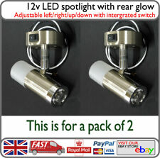 Motorhome 12v LED Reading Spot Light Down Light Metal with Switch Houseboat x2