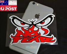 Red NO FEAR Ninja Eye Phone iPad Car Window Glass Reflective Sticker 14cm #572