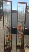 Very Rare French Pair of Painted and Fired Stained Glass Windows Double Sided