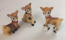Vintage Homco 3 Different Poses Christmas Deer Porcelain Figurines ~ #5606 ~Mint