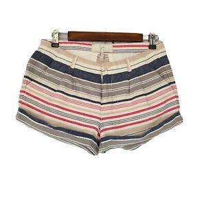 Joie Linen Blend Striped Cuffed Kimble Shorts Size 2