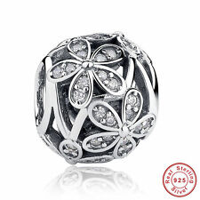 Flower w CLEAR CZ CHARM Bead Sterling Silver.925 For European Charm Bracelet