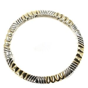 """Chicos Silver & Gold Tone Striated 7"""" Hinged Bangle Bracelet w Magnetic Clasp"""