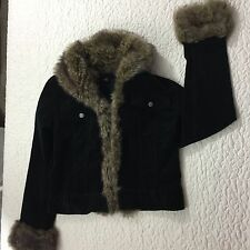 Willi Smith Black Short Jacket Faux Fur Collar, Front and Cuffs Size 4. AA31