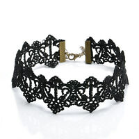 Vintage Gothic Lolita Hollow Black Lace Pendant Choker Collar Necklace Jewelry