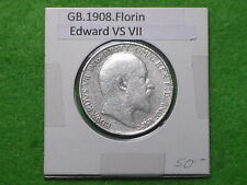 GREAT BRITAIN - 1908 ONE FLORIN - TWO SHILLINGS - PREDECIMAL COIN.