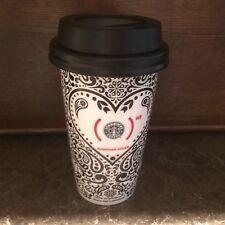 Starbucks Jonathan Adler Red Paisley Black White Heart Travel Tumbler  12 oz EUC