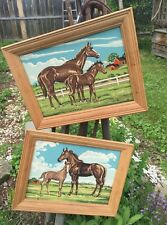 Two Vintage Oil Paintings Paint By Number Horses Mid Century Mod 1950's Fab