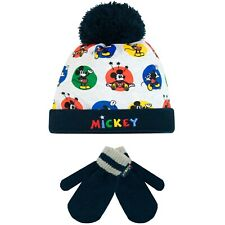 Boys Mickey Mouse Winter Set I Kids Mickey Mouse Hat and Gloves Set One Size