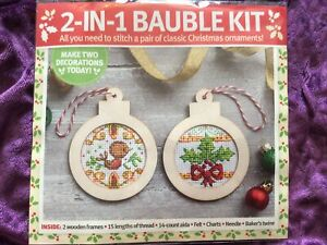 Robin And Holly Bauble Decorations Christmas Cross Stitch Kit