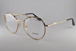 Prada Eyeglasses PR 55UV UAO1O1 Spotted Opal Brown/Pale Gold, Size 51-19-140