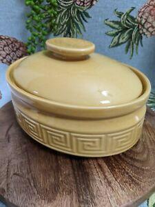 Vintage 70s Doulton Australia Grecian Key Oval Casserole w Lid Mustard Yellow