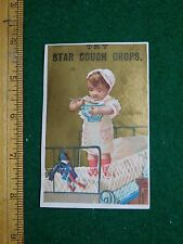 1870s-80s Star Cough Drops Kenyon Potter & Co Girl Soup Bowl Trade Card F33