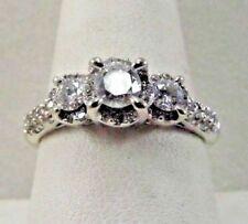 14K White Gold 3 Halo Diamond .78TCW Designer Ring Size 8.5 SAVE 1800. r310