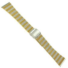 20mm Kreisler Stainless Stripe Two Tone Sliding Hook Clasp Vintage Watch Band