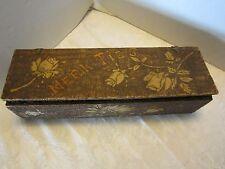 "Victorian Neck Tie's box Flemish art burned wood 14"" antique signed 1900-1940's"