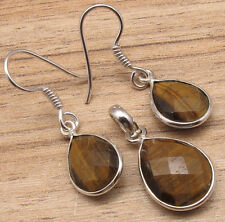 Original TIGER'S EYE Jewelry SET, Earrings & Pendant, 925 Silver Plated NEW Gift
