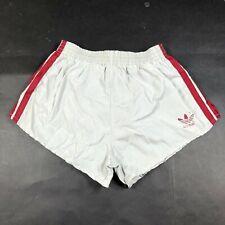 Vintage Adidas Trefoil Boys Youth L 28-30 Gray Running Shorts Dark Red Nylon