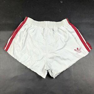 Vintage Adidas Running Shorts Boys Youth L 28-30 Gray Dark Red Nylon Trefoil
