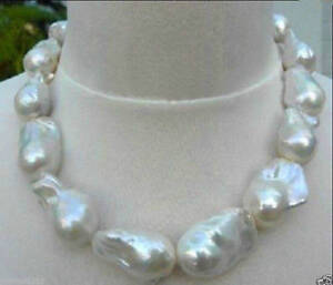 REAL HUGE AAA SOUTH SEA WHITE NATURAL BAROQUE PEARL NECKLACE 18-35''