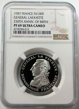 1987 PALLADIUM FRANCE 100 FRANCS LAFAYETTE COIN NGC PROOF 69 ULTRA CAMEO