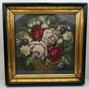 Antique Victorian Beadwork Crewel Framed Folk Art OOAK Flower Floral Basket