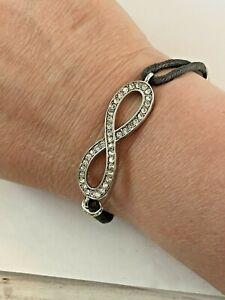 Rhinestone Infinity Symbol Bracelet Black cord Silvertone s64