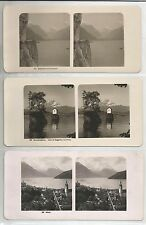 3 Very Scarce and old 3D Stereoviews (Stereofoto)-Axenstrasse,Vierwaldstattersee