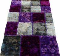 "4'11 x 6'10"" Area Rug Shag Shaggy Purple, Silver, Black Thick Heavy Home Carpet"