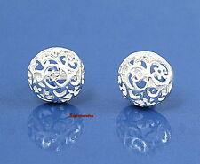 Wedding Bridal Women Vintage 925 Sterling Silver Filigree Ball Stud Earring XE56