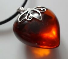 Vintage Big Baltic Amber Sterling Silver Marcasite Puffy Heart Pendant Necklace